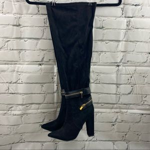 Shoe dazzle faux suede over the knee stretch boot